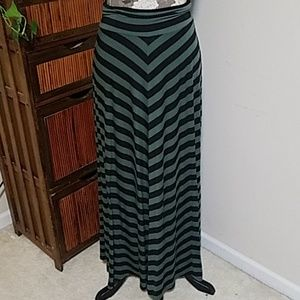 AB Studio olive & black chevron striped maxi skirt
